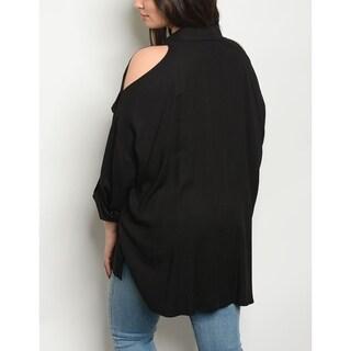 JED Women's Plus Size Comfy Fit Cold Shoulder Button Down Shirt
