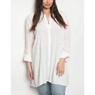 JED Women's Plus Size Flowy Button Down Tunic Shirt