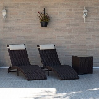 Mykonos 3 Piece Brown Patio Chaise Lounger Set