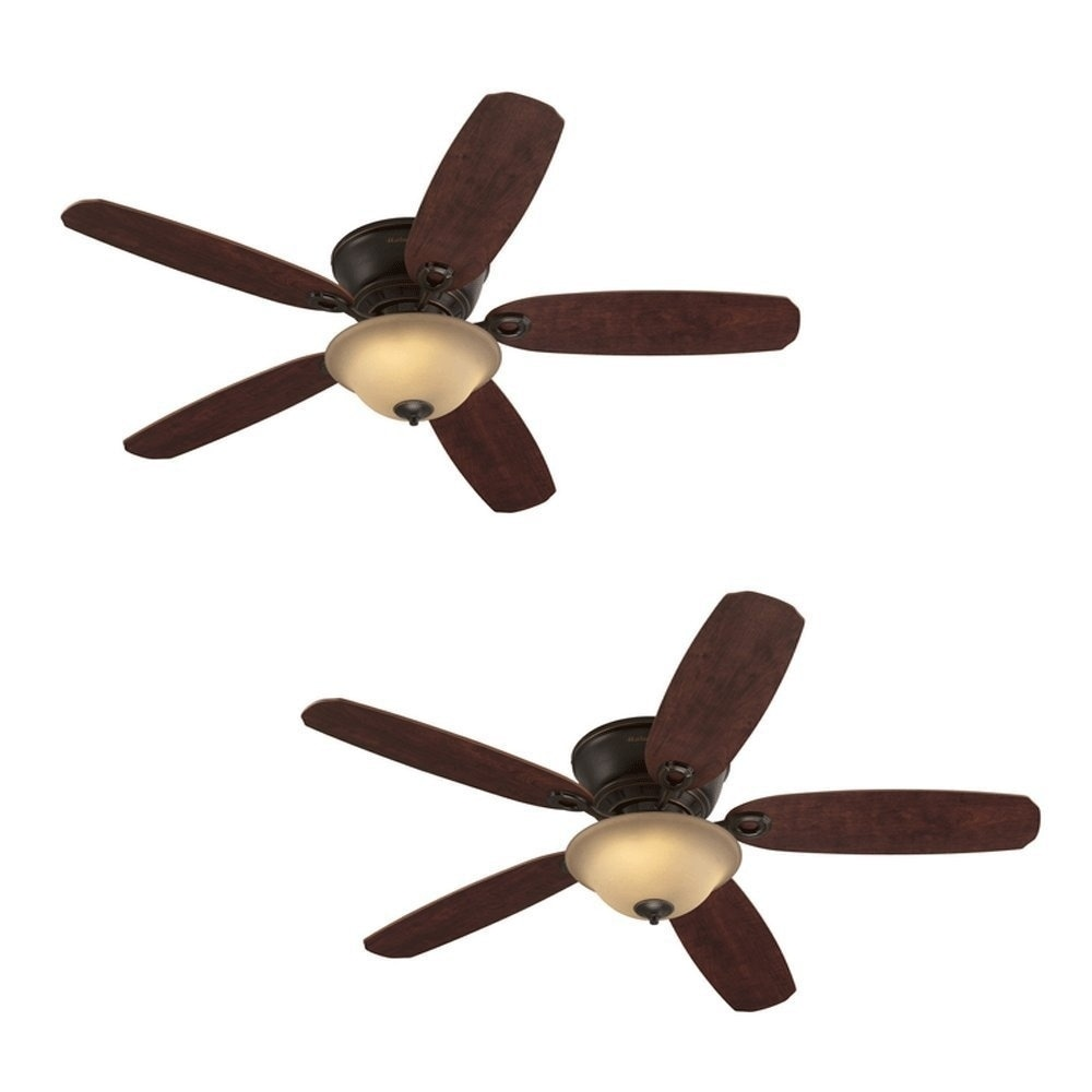 Harbor Breeze Ceiling Fan 52 In Oil Rubbed Bronze Flush Mount W Light Remote Overstock 20696362