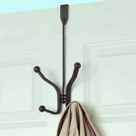 Over The Door Double Hook Rack (Bronze)