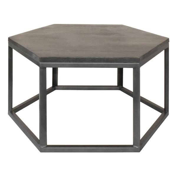 Shop Bengal Manor Grey Mango Wood And Metal Hexagon Cocktail Table - Hexagon wood coffee table