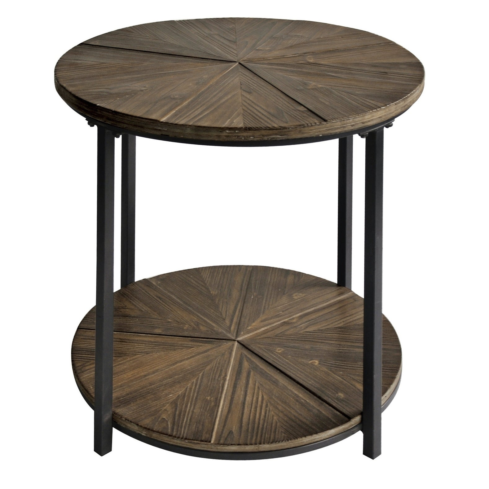 Metal And Rustic Wood Round End Table
