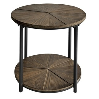 Jackson Metal And Rustic Wood Round End Table Overstock Com Shopping The Best Deals On Coffee Sofa End Tables