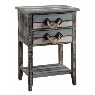 Nantucket Weathered Wood 2-drawer Accent Table