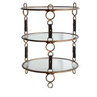 Winchester Antique Gold Glass and Leather Strap 3-tier Accent Table