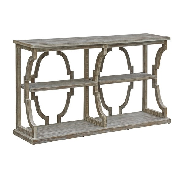 Stockton Chestnut Wash 3 Tier Open Console Table