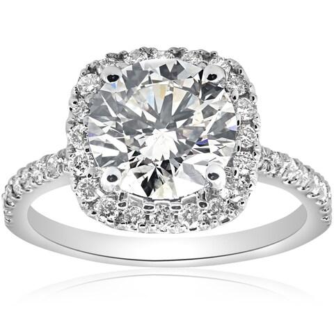Bliss 14K White Gold 2 1/2ct TDW Diamond Cushion Halo Clarity Enhanced Engagement Ring (G-SI)