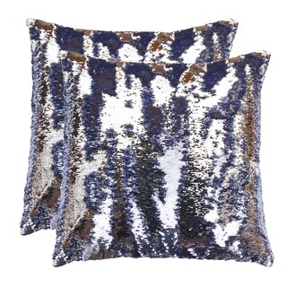 Set of 2 20x20 Melody Mermaid Reversed to Shiny Metallic Faux Linen Pillow