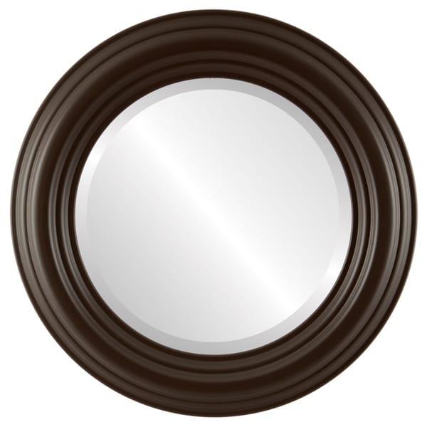 Regalia Framed Round Mirror in Stone Brown