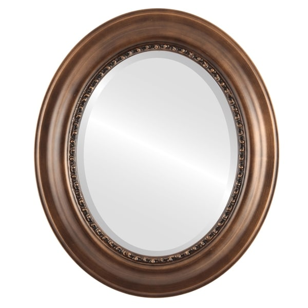 Chicago Framed Oval Mirror in Sunset Gold