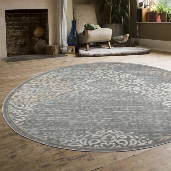 Joslin Lotus Grey Round Area Rug - 5'3 x 5'3