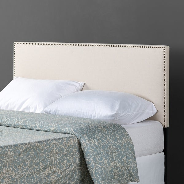 Priage by Zinus Upholstered Nailhead Trim Headboard, Taupe