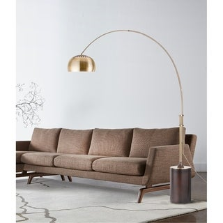 Nova Lighting Contour Arc Lamp, Weathered Brass