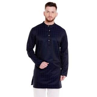 In-Sattva Men's Indian Banded Collar Mid-Length Kurta Tunic Micro Dobby Pattern