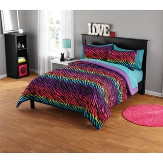 Rainbow Zebra Comforter Set (2 options available)