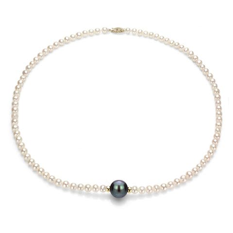 DaVonna 14K Yellow Gold White Freshwater Cultured Pearl Necklace 4-4.5mm and 10-10.5mm 18 inch