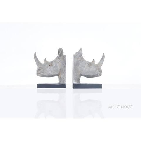 Anne Home - Rhino Head Bookend - Set of 2