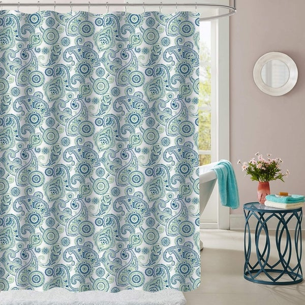 Gentil Modern Paisley Patterned Fabric Shower Curtain ...