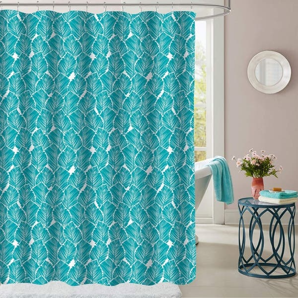 Tropical Leaf Patterned Fabric Shower Curtain 70 X72