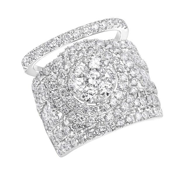 Shop 14K Gold Large 5 5Ct Cluster Diamond Engagement Ring