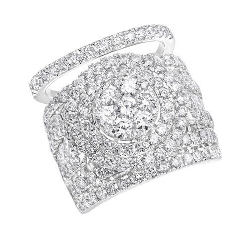 14K Gold Large 5.5Ct Cluster Diamond Engagement Ring, Wedding Band Set