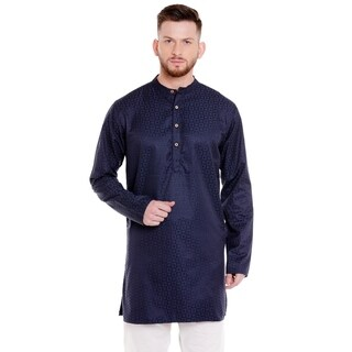 In-Sattva Men's Indian Band Collar Mid-Length Kurta Tunic Dobby Checkered Print (3 options available)