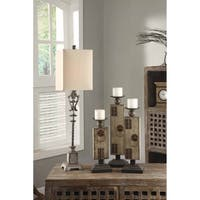 Belle Iron Distressed Wood 37.5-inch Large Buffet Lamp