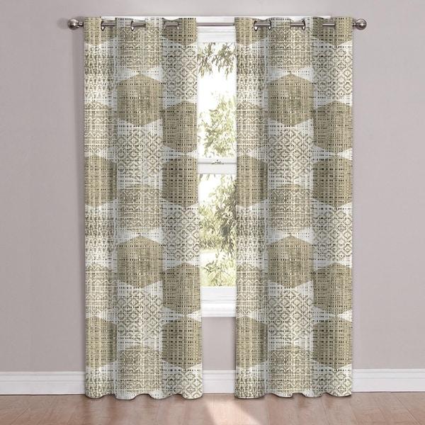 "Shop Monaco Patterned Window Curtain Panel Pair (84""x38"