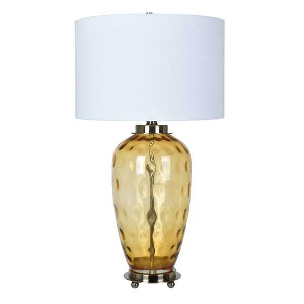 Convex Amber and Antique Brass 33-inch Table Lamp