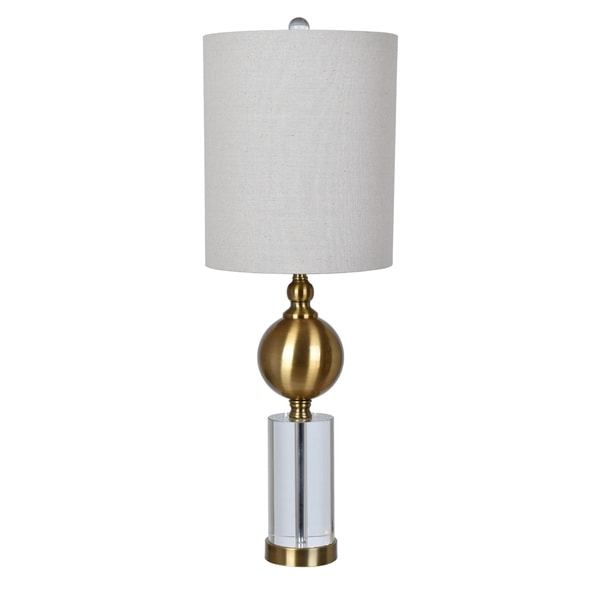 Dupuis Crystal and Brass 30-inch Table Lamp