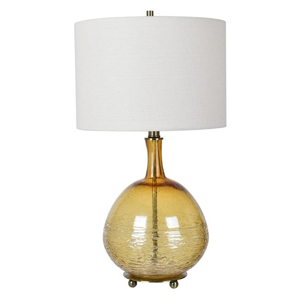 Halo Amber and Brass 30-inch Table Lamp