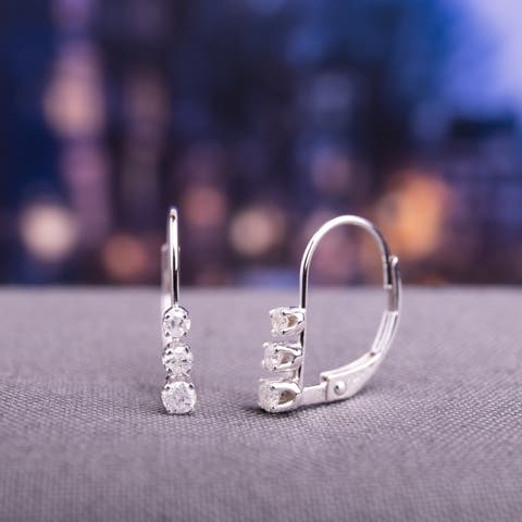 Miadora 14k White Gold 1/4ct TDW Diamond Lever Back Earrings