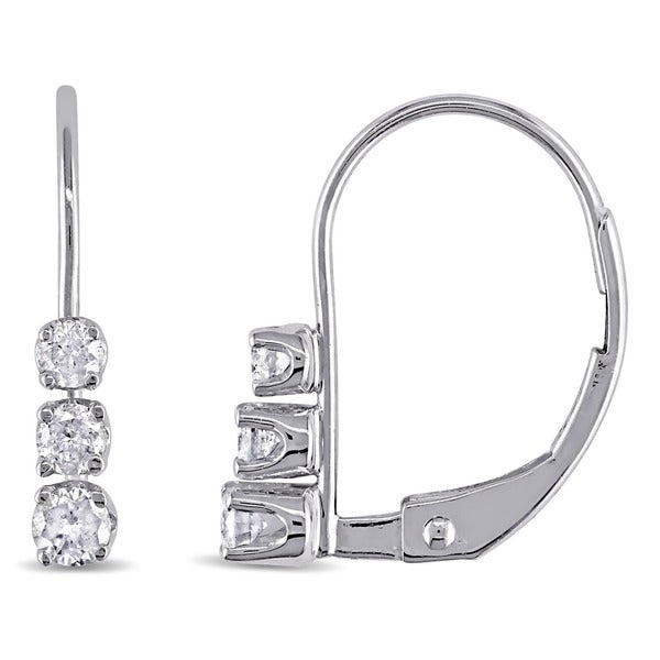 14k White Gold 1/4ct TDW 3-Stone Diamond Leverback Earrings by Miadora