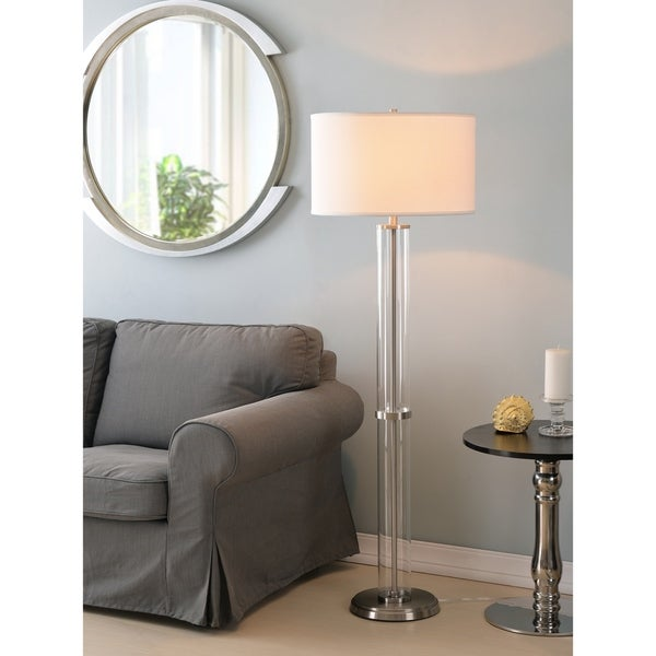 "Bailey 60"" Clear Floor Lamp - Brushed Steel"