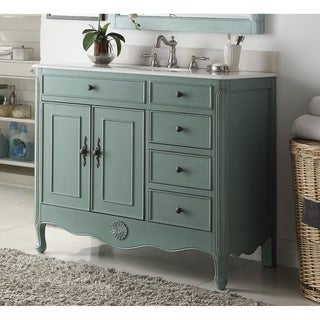 "38"" Benton Collection Fayetteville Vintage Blue Bathroom Vanity & BS"
