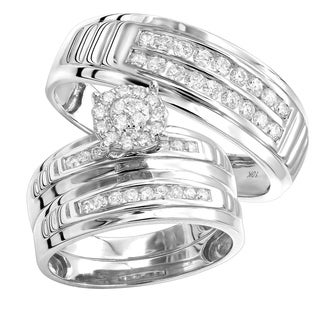 10kt Gold Diamond Engagement Ring & Wedding Bands Set for His & Hers