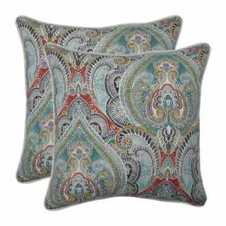 Pillow Perfect Outdoor / Indoor Pretty Witty Reef Blue 18.5-inch Throw Pillow (Set of 2)