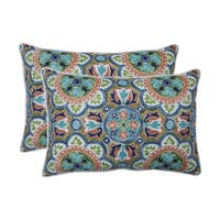 Pillow Perfect Outdoor / Indoor Lagoa Tile Flamingo Blue Over-sized Rectangular Throw Pillow (Set of 2)
