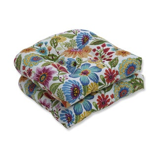 Pillow Perfect Outdoor / Indoor Gregoire Prima Blue Wicker Seat Cushion (Set of 2)