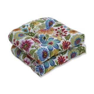 Pillow Perfect Outdoor / Indoor Gregoire Prima Blue Wicker Seat Cushion (Set of 2)