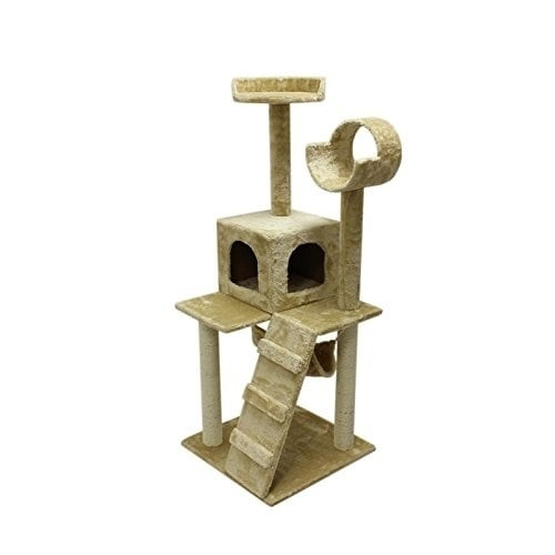 Aleko Cat Tree Condo Scratching Post Furniture 47 Inch Height On Free Shipping Today 20699122