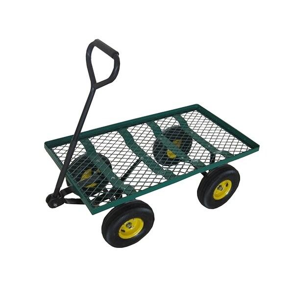 ALEKO Farm and Ranch Heavy Duty Steel Flatbed Utility Garden Mesh Cart