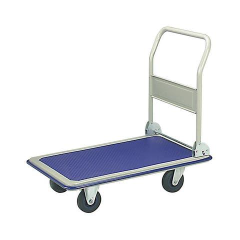 ALEKO Push Hand Truck Folding Platform Cart 4 Wheel Dolly