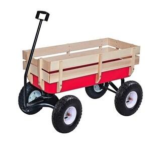ALEKO Kids Wood Steel Wagon Pulling Play Cart Children Wagon Stroller