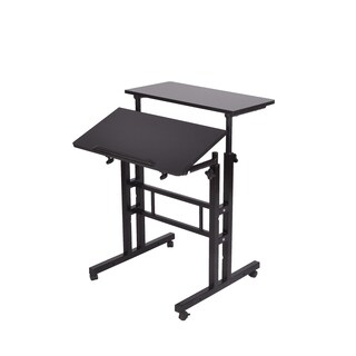 Mind Reader 2-tier Black Finish Sit and Stand Desk