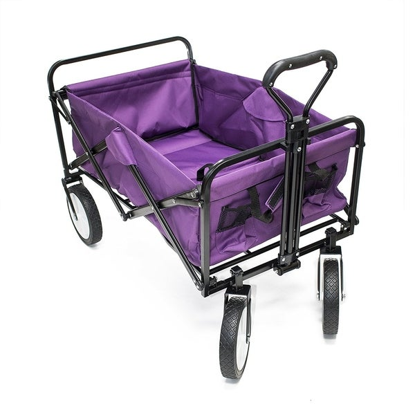 ALEKO Multipurpose Folding Utility Wagon Purple 150 Lb Capacity