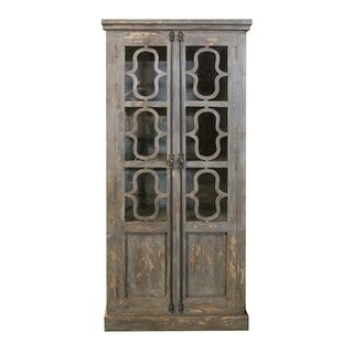 Bengal Manor Distressed Grey Mango Wood and Glass 2-door Curio Cabinet