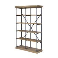 La Salle Brown Metal and Wood Bookshelf
