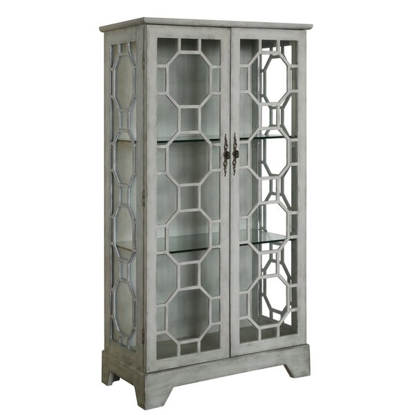 Evelyn Painted Grey Glass 2 Door Fretwork Curio Cabinet